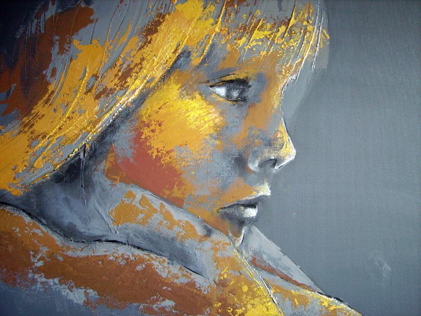 Th r se ch n fillette triste for Peinture pastel gras